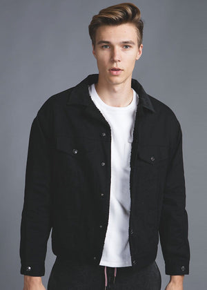 Boys Plain Trucker Jacket With Borg Lining - Black - Front