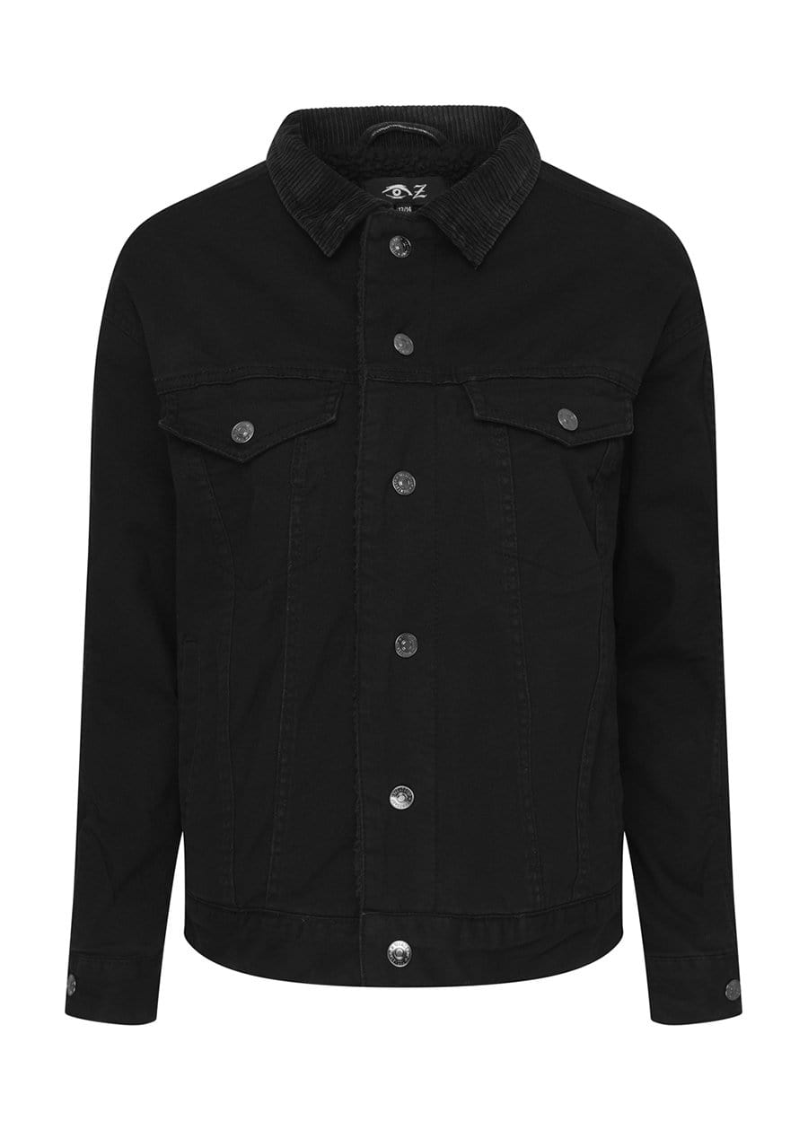 Youth Boys Plain Trucker Jacket With Borg Lining