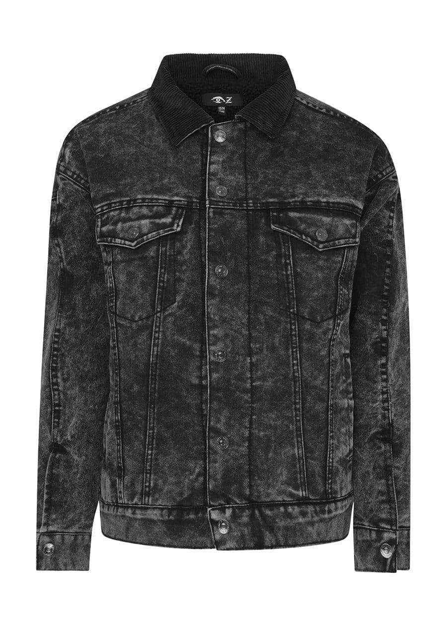 Youth Boys Black Denim Winter Trucker Jacket