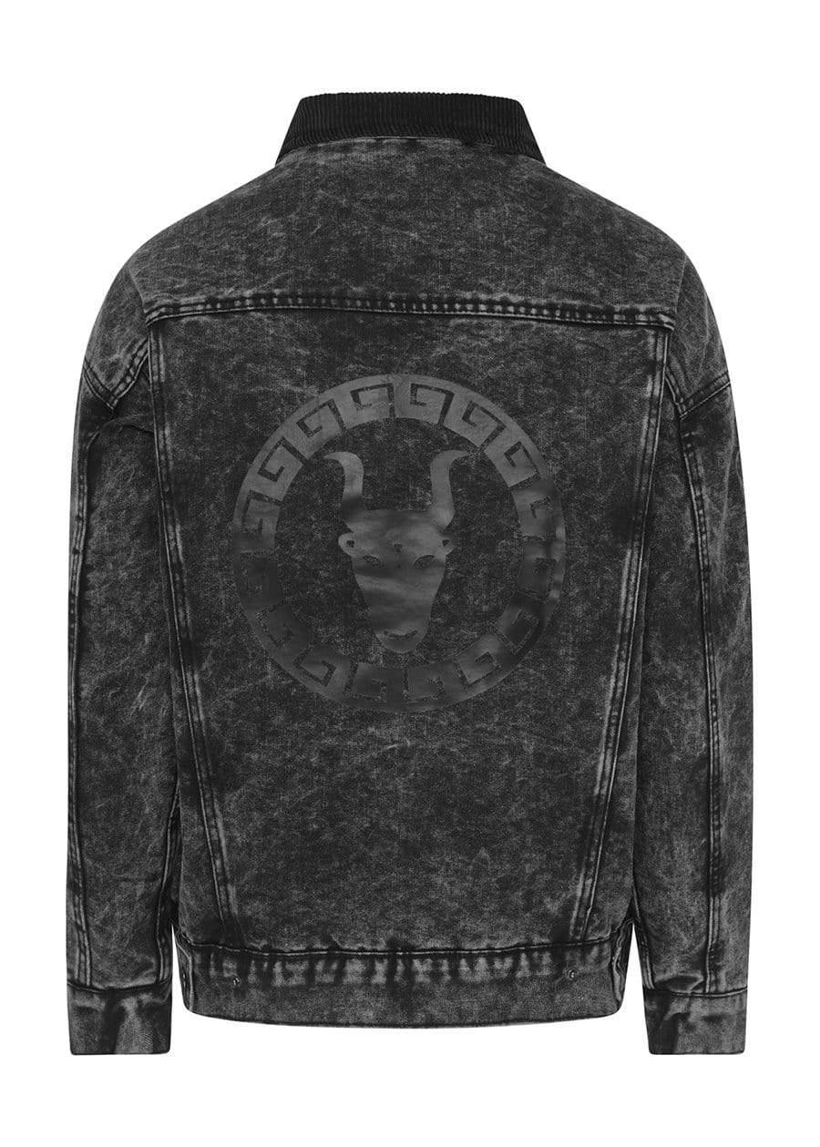 Youth Boys Black Denim Winter Trucker Jacket Back