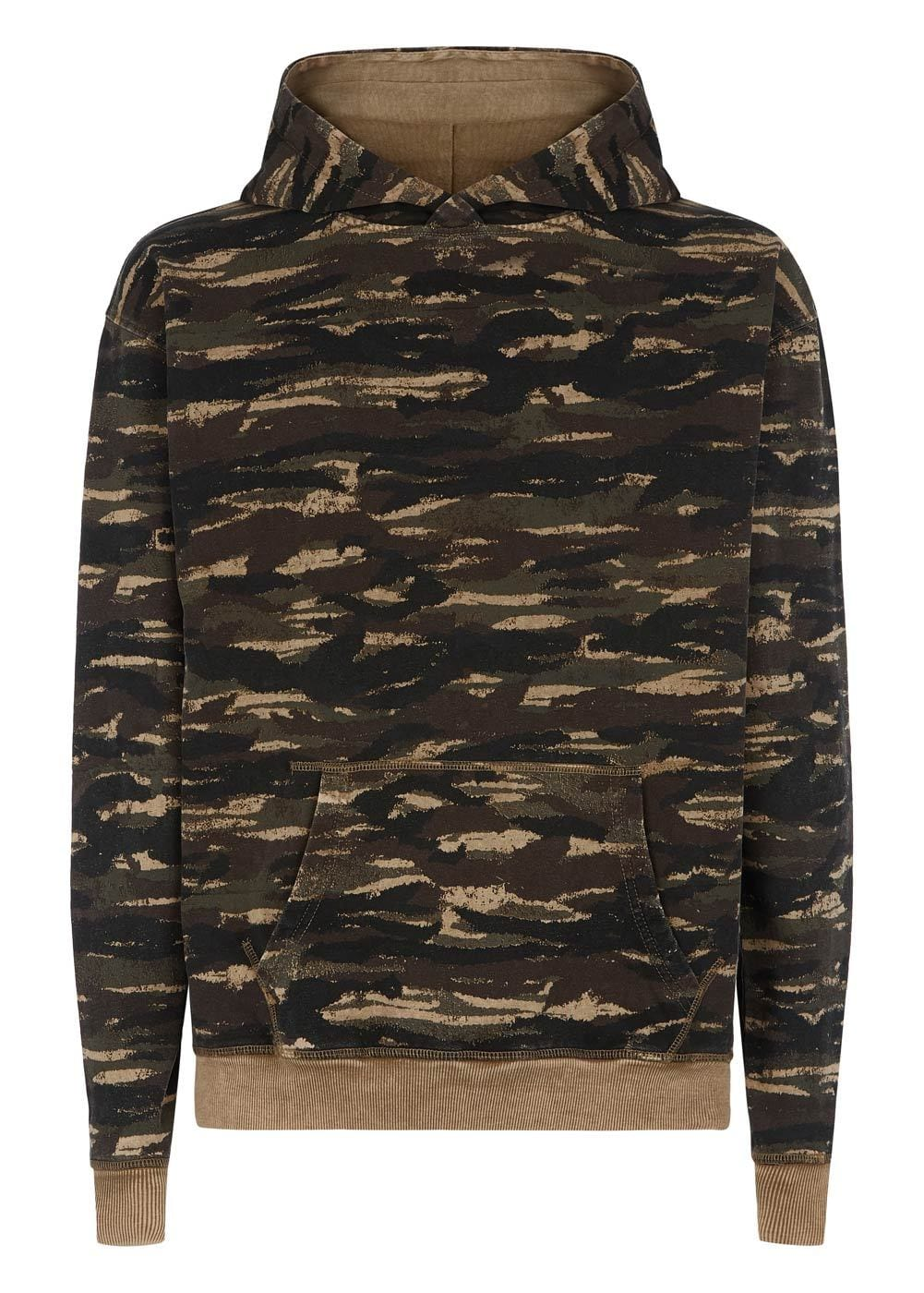 Boys Brown Distressed Camo Hoodie - Front