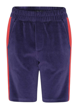 TeenzShop Youth Boys Navy Velour Side Stripe Shorts