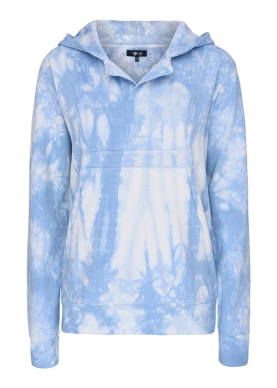 Boys Blue Tie Dye Open-Neck Hoodie-TeenzShop