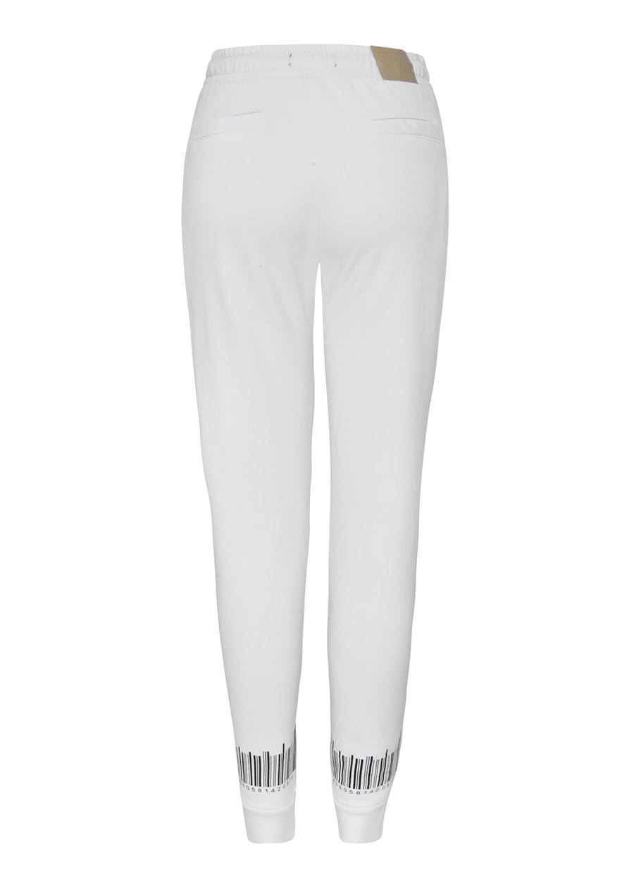 Boys White Barcode Joggers-TeenzShop