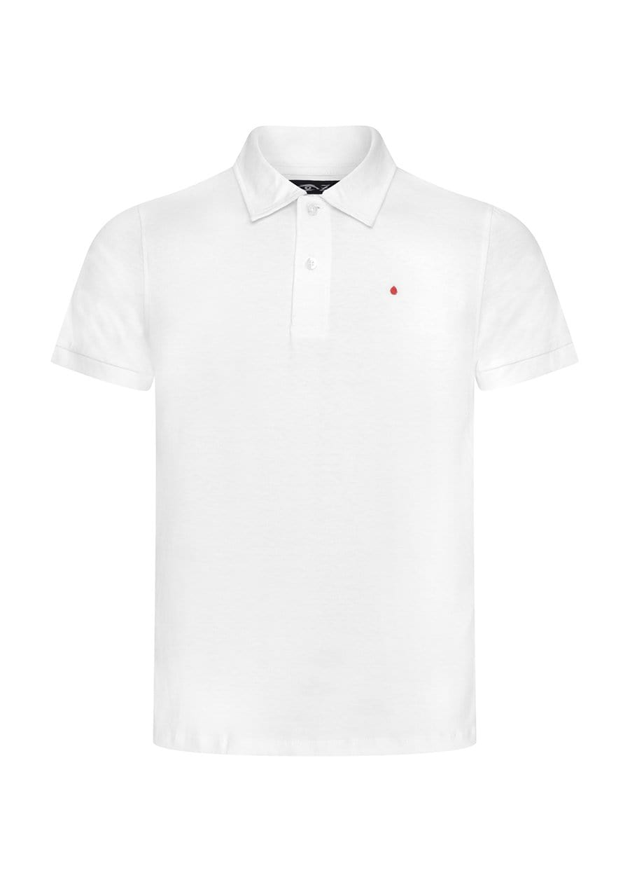 Youth Boys White and Black Short Sleeve Security Polo Shirt Front