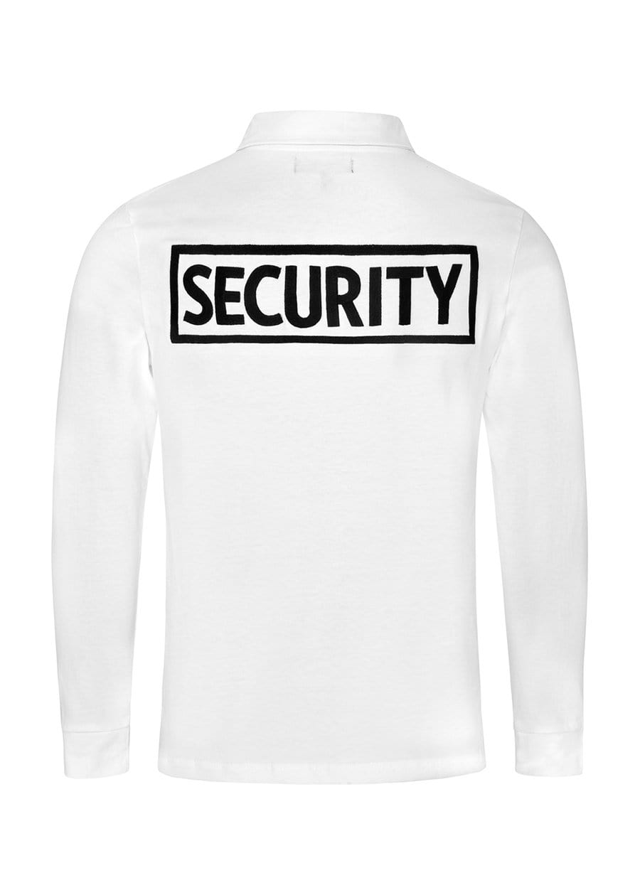 Youth Boys White and Black Long-Sleeve Security Polo Shirt