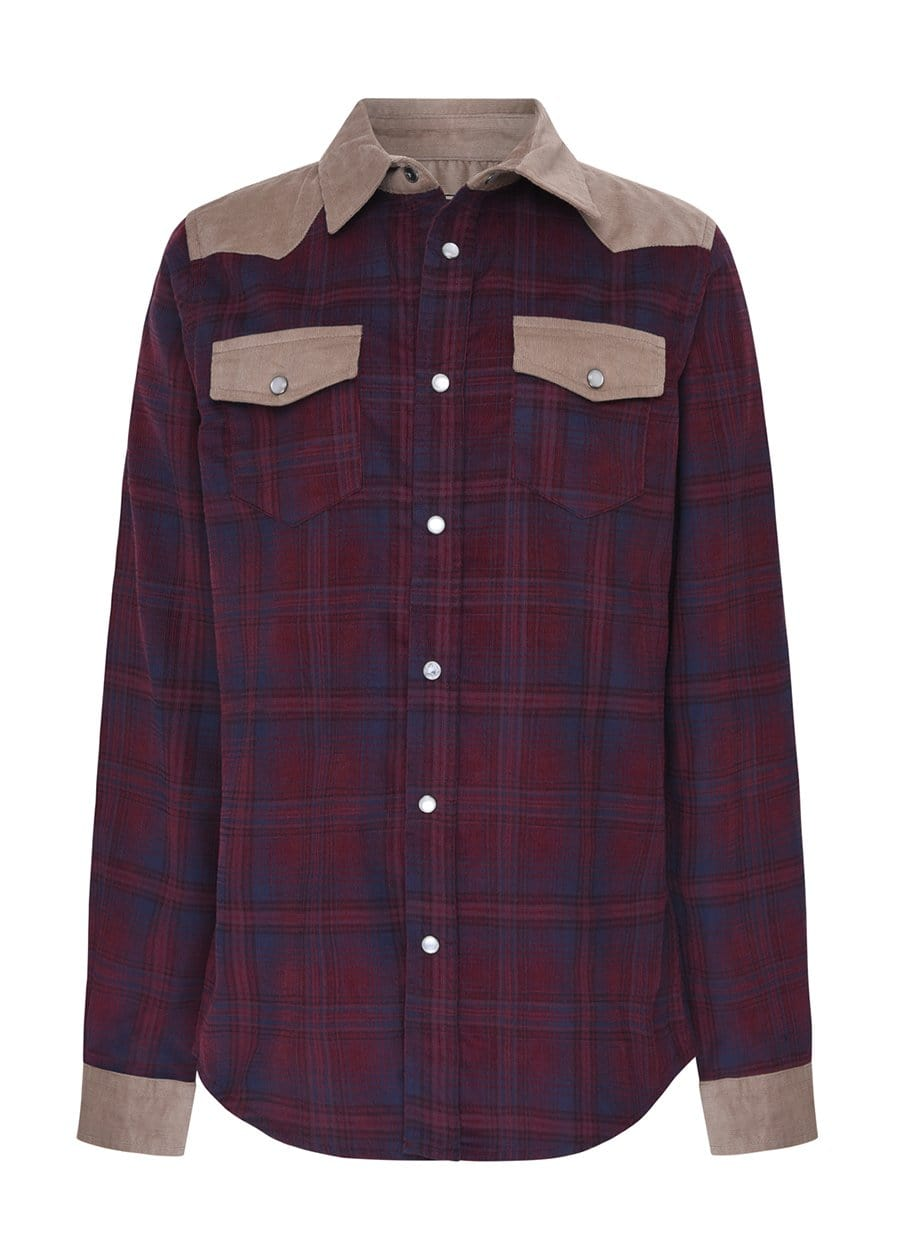 TeenzShop Youth Boys Plaid and Tan Cowboy Shirt- SUSTAINABLE FABRIC