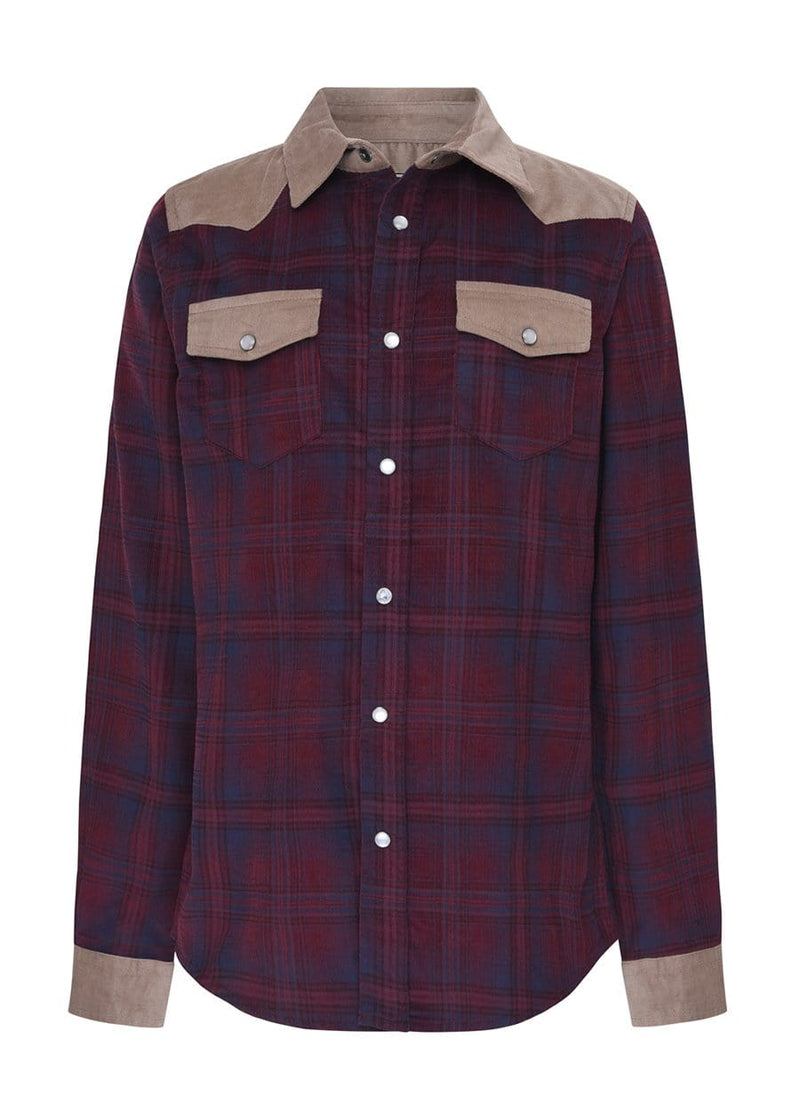 Youth Boys Plaid and Tan Cowboy Shirt- SUSTAINABLE FABRIC
