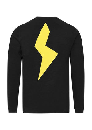 TeenzShop Youth Boys Black Long Sleeve Yellow Thunderbolt T-Shirt