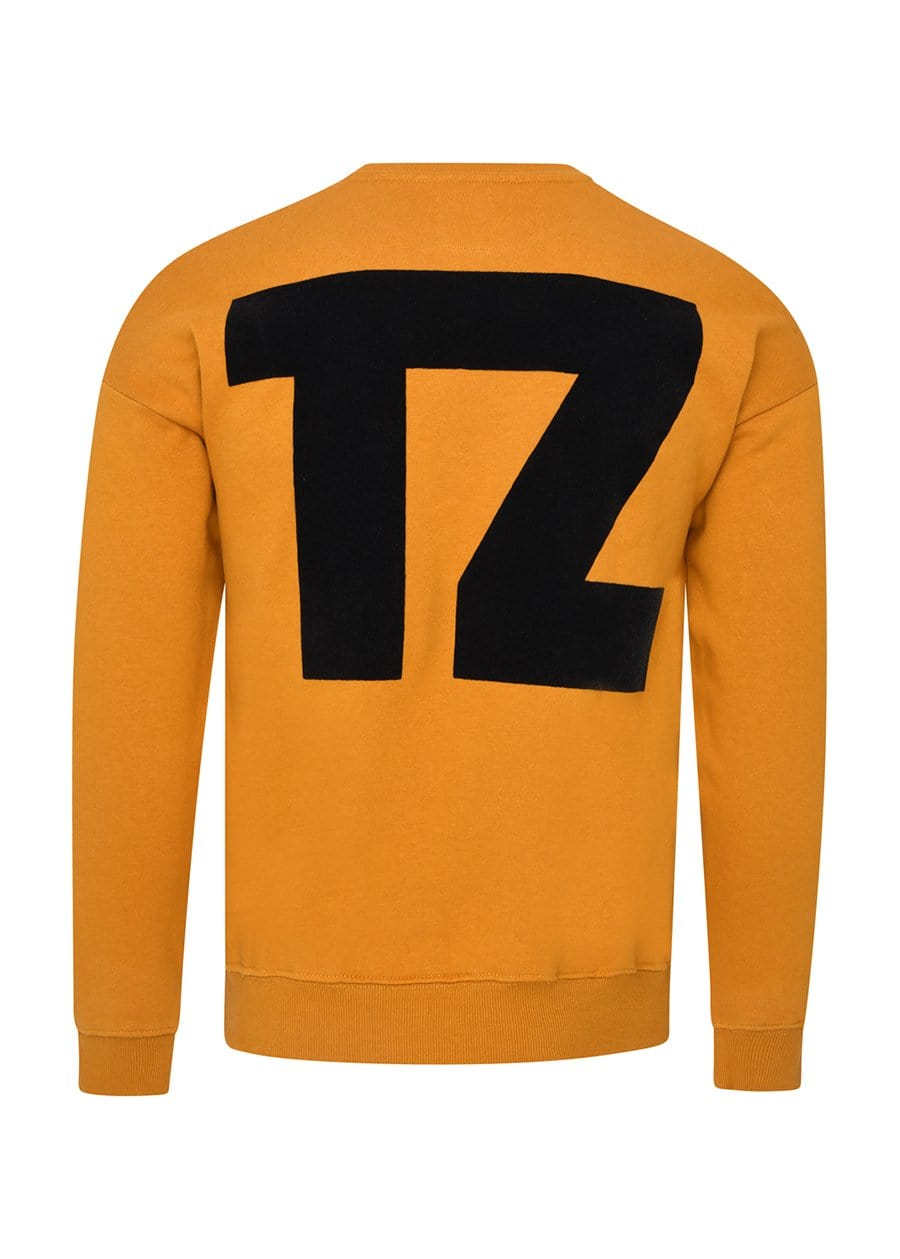 Youth Boys Mustard TZ Logo Flocked Sweatshirt Back