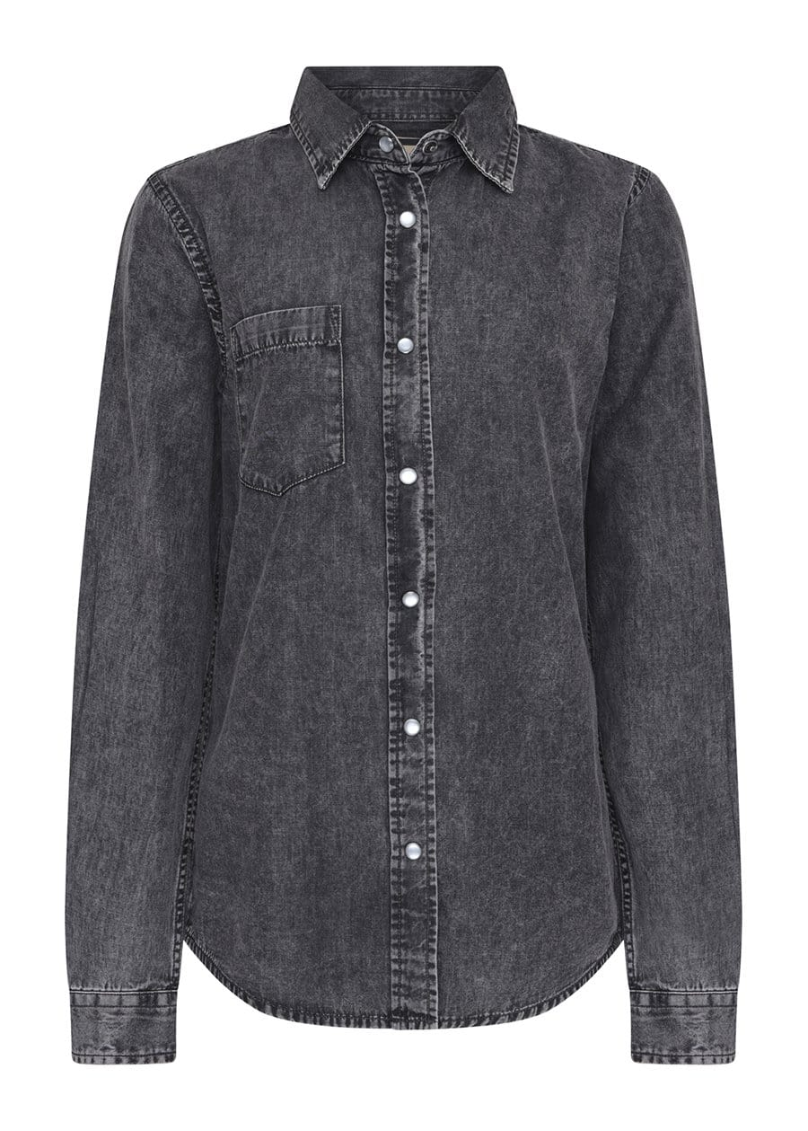 TeenzShop Youth Boys Long Sleeve Grey Denim Shirt- SUSTAINABLE FABRIC