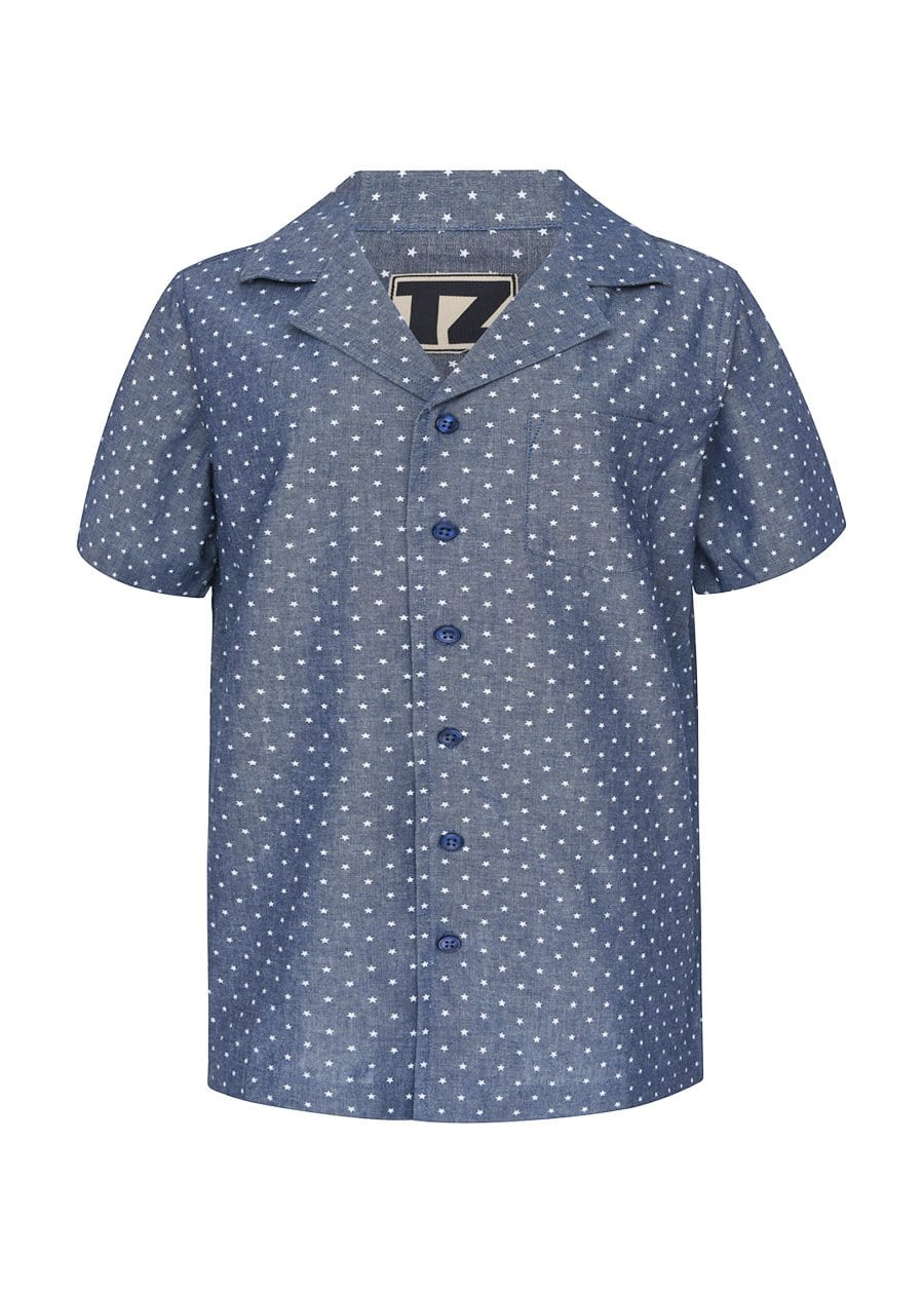 TeenzShop Youth Boys Blue Short Sleeve Cabana Shirt-SUSTAINABLE FABRIC