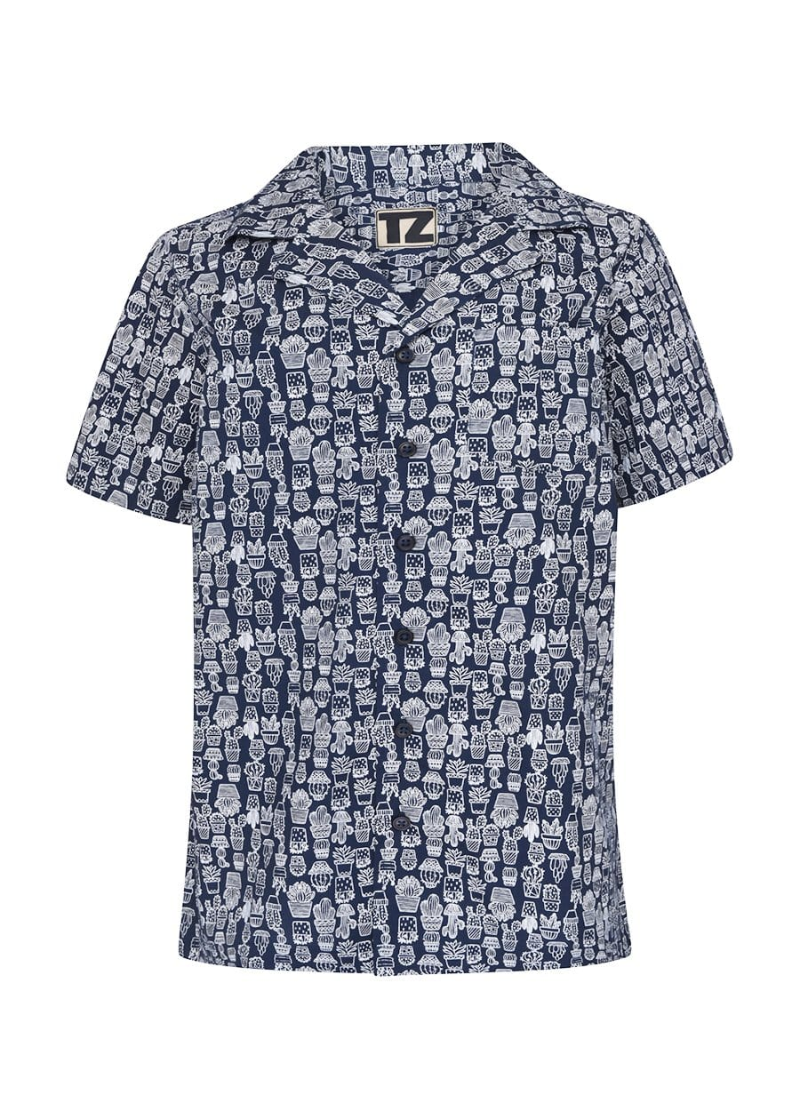 TeenzShop Youth Boys Navy Cactus Short Sleeve Cabana Shirt- SUSTAINABLE FABRIC