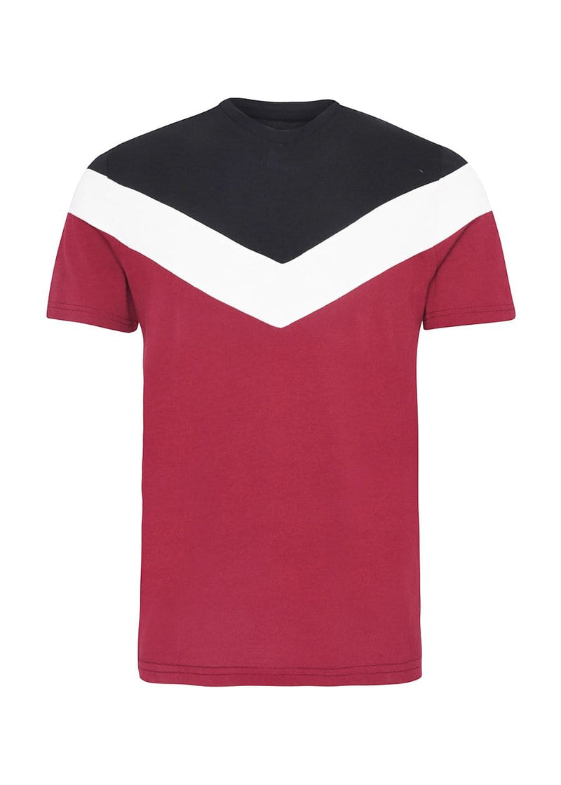 TeenzShop Youth Boys Burgundy Short Sleeve Diagonal Print T-Shirt