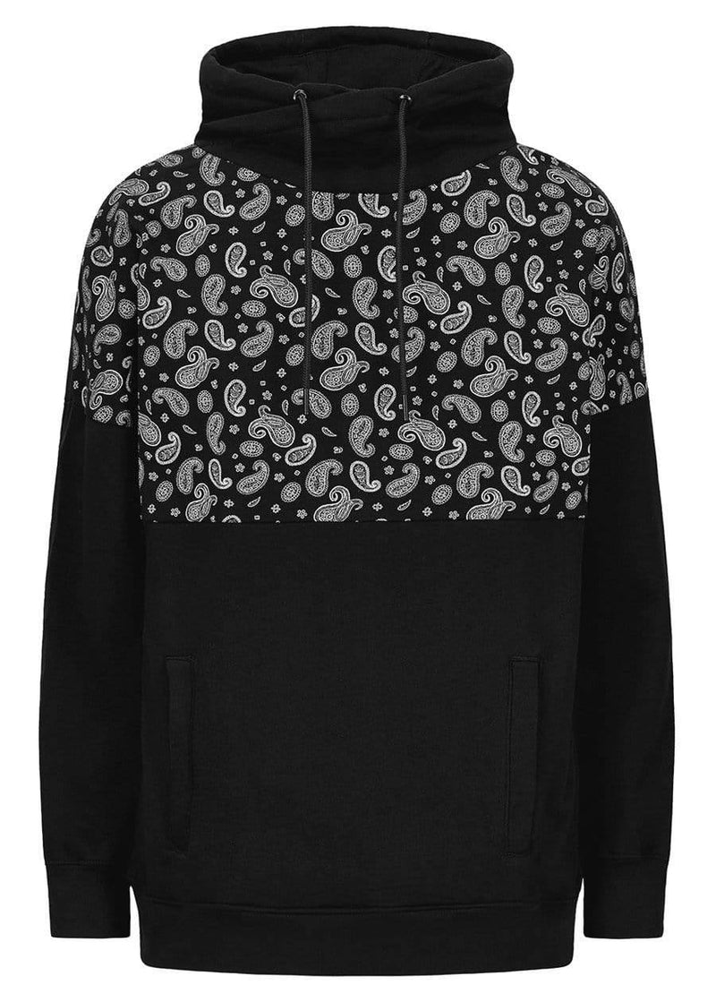 TeenzShop Youth Boys Black Funnel Neck Paisley Print Oversized Sweatshirt