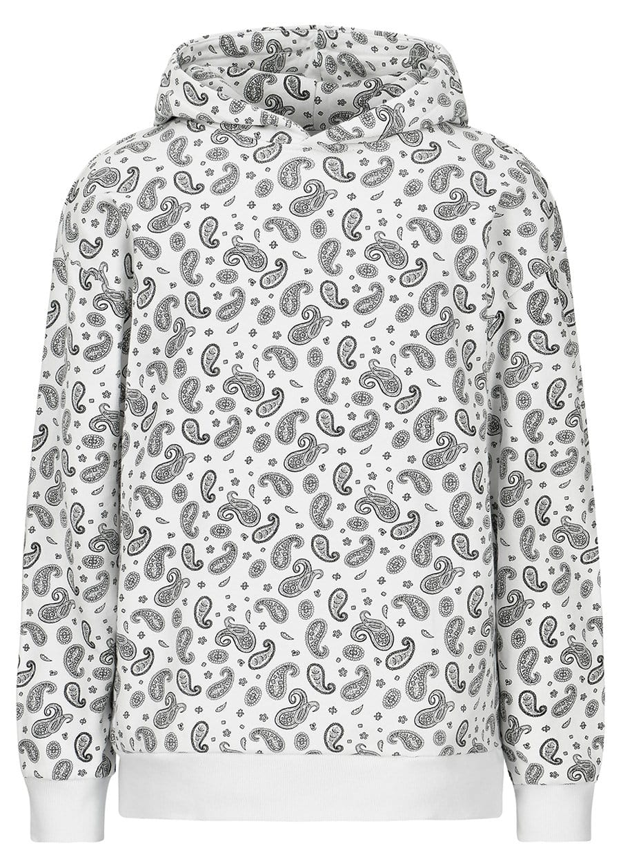 TeenzShop Youth Boys White Soft Cotton Paisley Print Oversized Hoodie