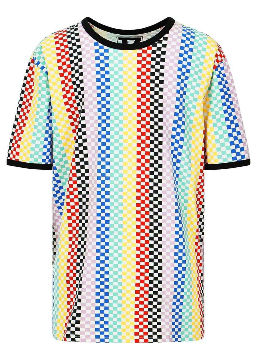 Teenzshop Youth Boys Short Sleeve Multi Colour Checkered T-Shirt