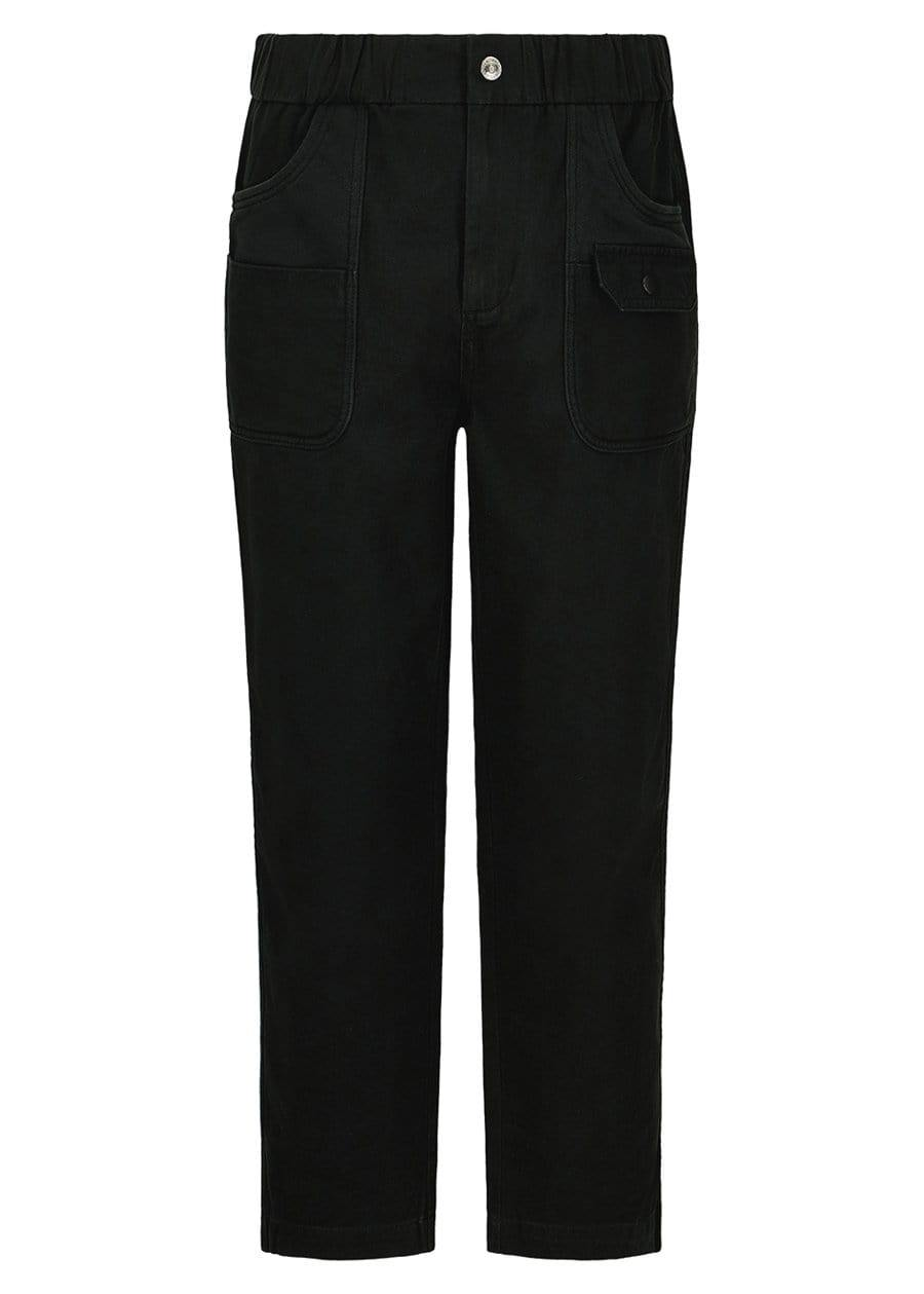 Youth Boys Black Cotton Cargo Trousers