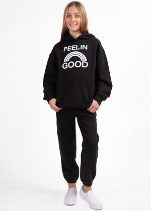 Girls Black Feelin Good Hoodie-TeenzShop