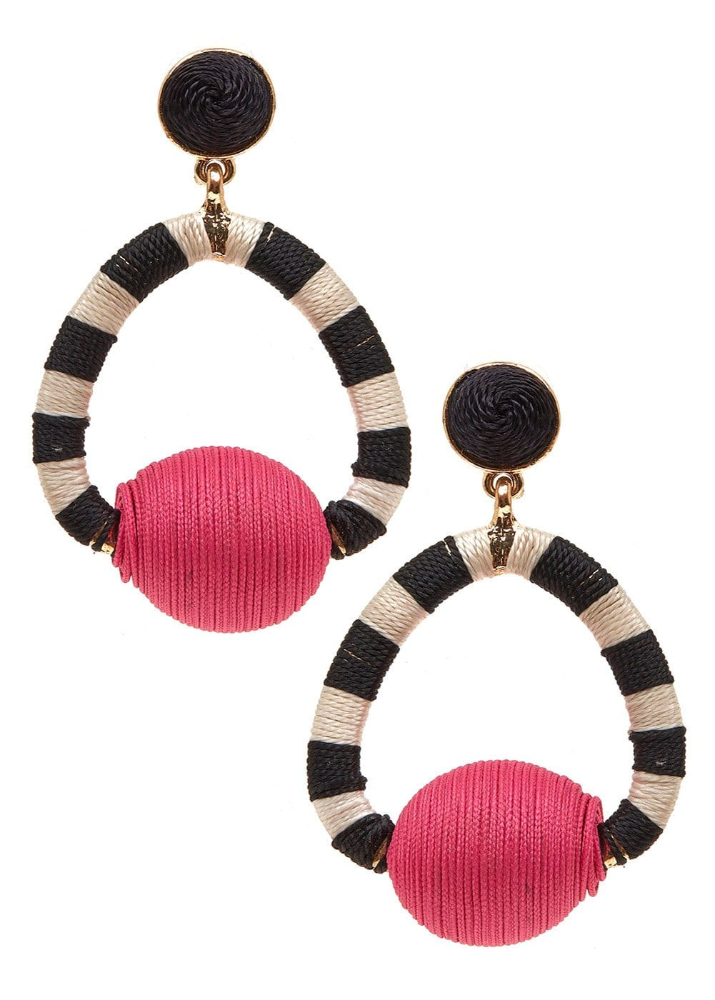 Girls Black White Candy Stripe Earrings - Front