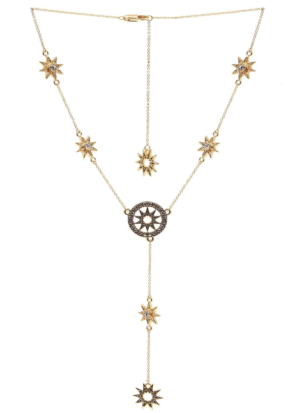Girls Gold Star Drop Necklace - Front