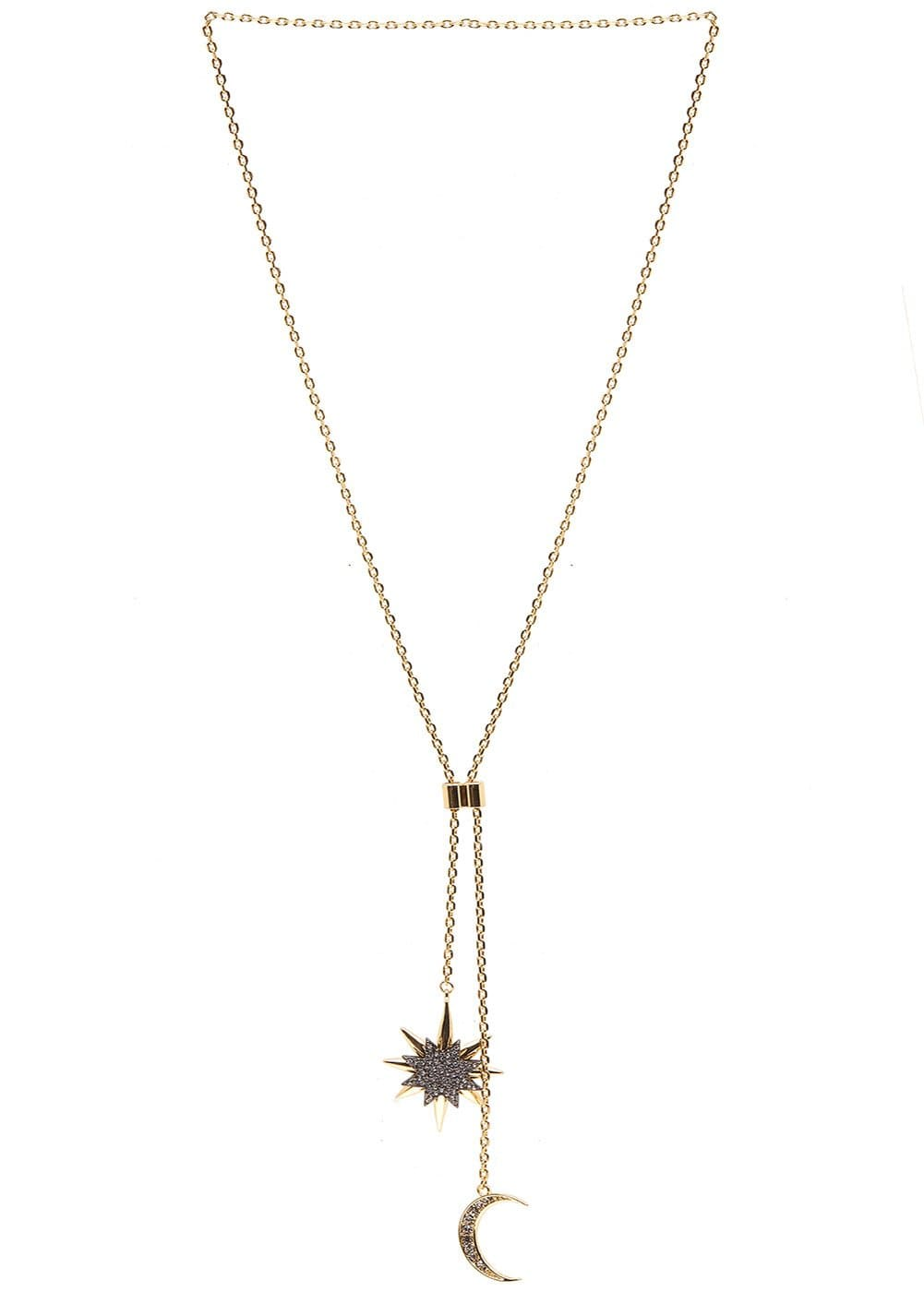 Girls Gold Moon & Star Lasso Necklace - Front