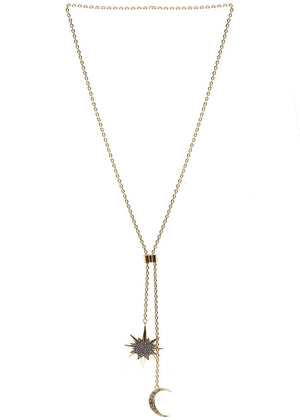 TeenzShop Moon & Star Lasso Necklace