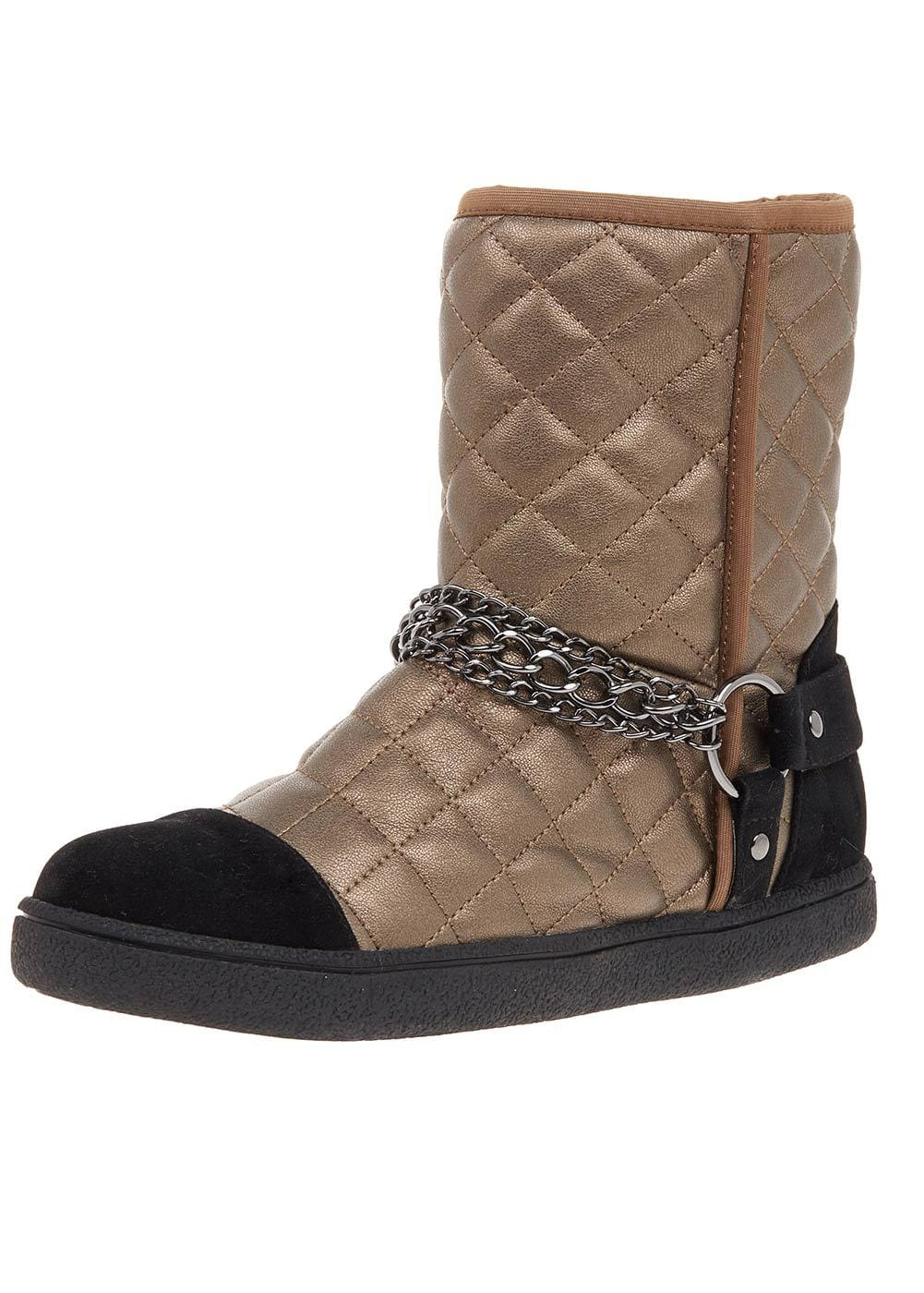 Girls Bronze Winter Biker Boots With Faux Fur Lining-TeenzShop