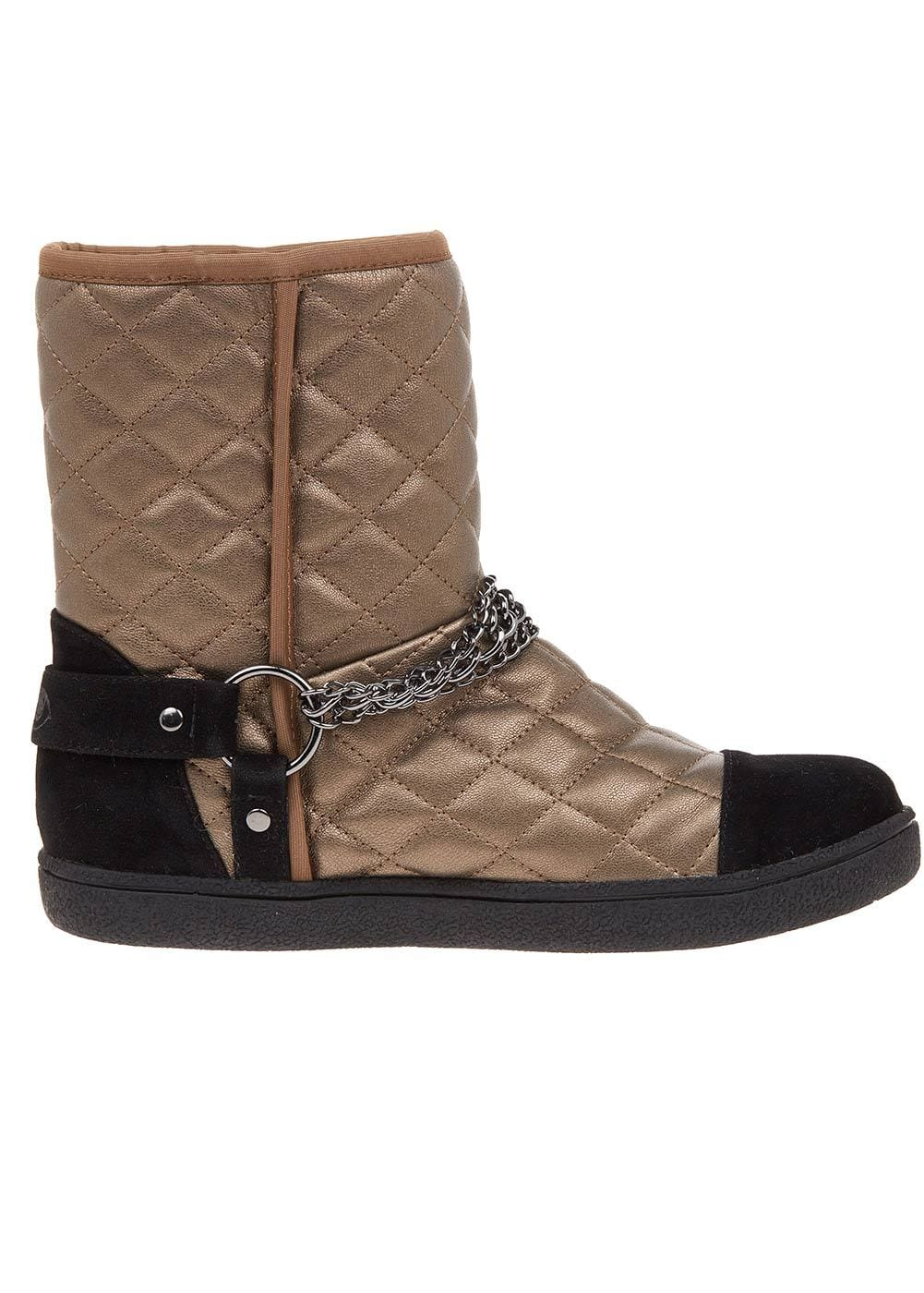 TeenzShop Bronze Winter Biker Boots With Faux Fur Lining