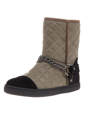 Winter Biker Boots With Faux Fur Lining - Grey - Front