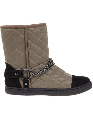 Winter Biker Boots With Faux Fur Lining - Grey - Side