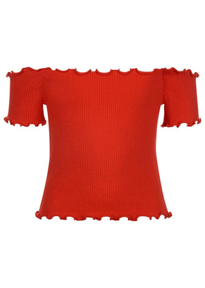 Girls Twin Pack Bardot Top - Red - Front