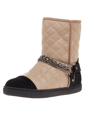 TeenzShop Taupe Winter Biker Boots With Faux Fur Lining