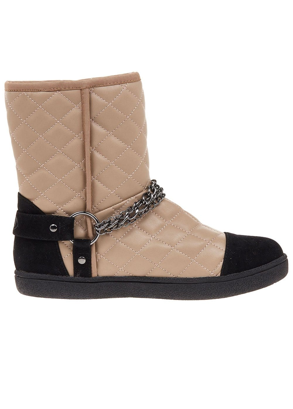 Girls Taupe Winter Biker Boots With Faux Fur Lining-TeenzShop