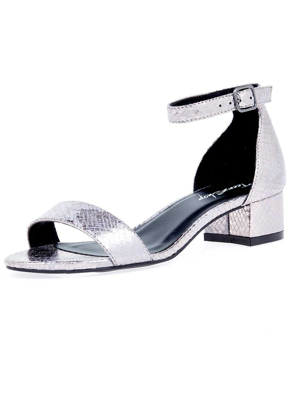 TeenzShop Girls Gunmetal Small Block Heel Sandal
