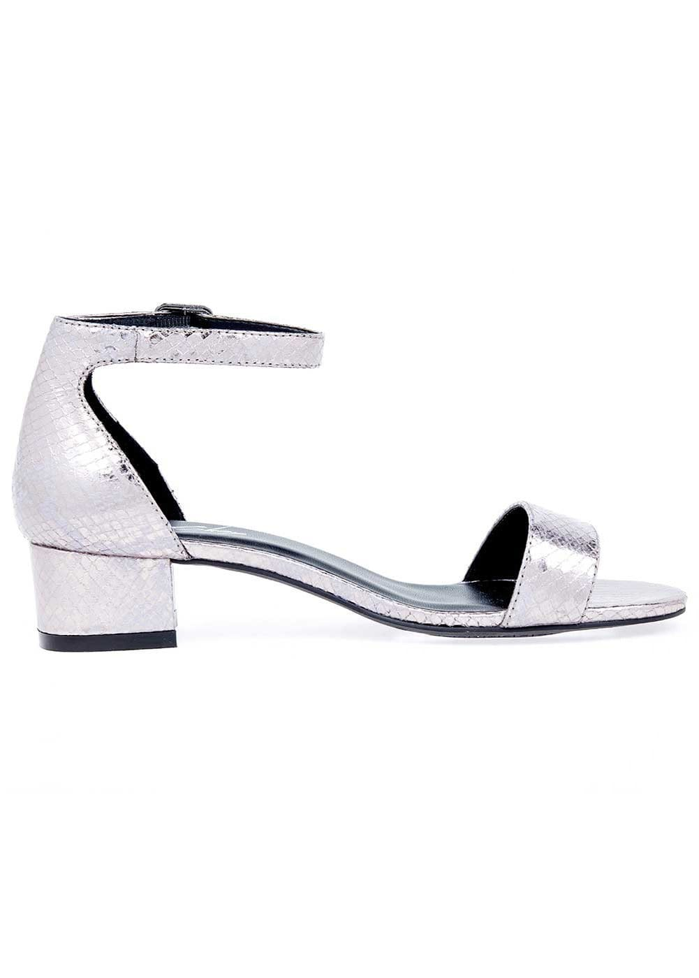 Girls Gunmetal Small Block Heel Sandal - Side