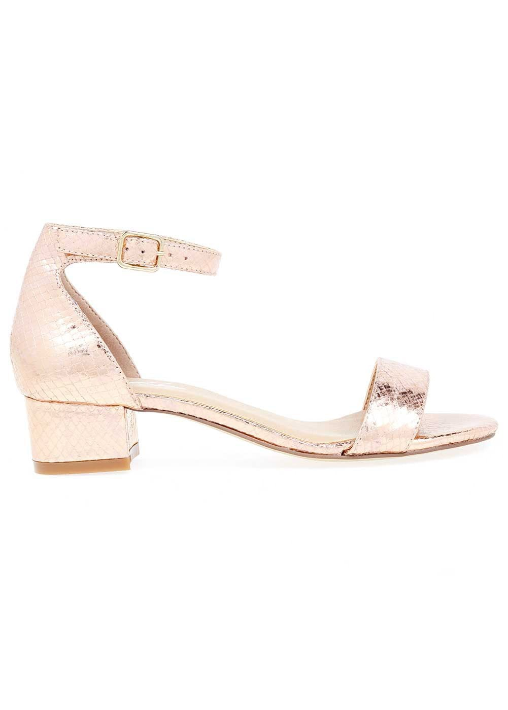 Girls Rose Gold Small Block Heel Sandal - Side
