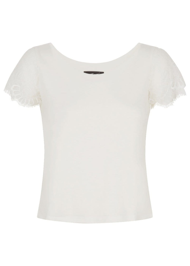 Youth Girls White T-shirt With Lace Cap Sleeves