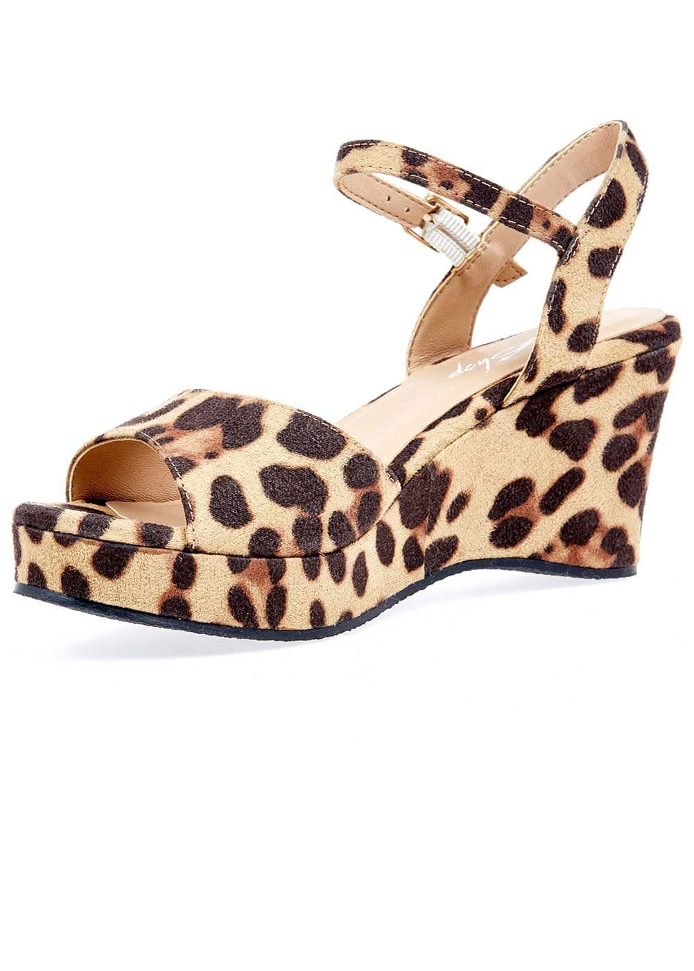 Girls Leopard Wedge Party Sandal - 3/4