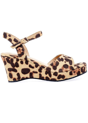 Girls Leopard Wedge Party Sandal - Side