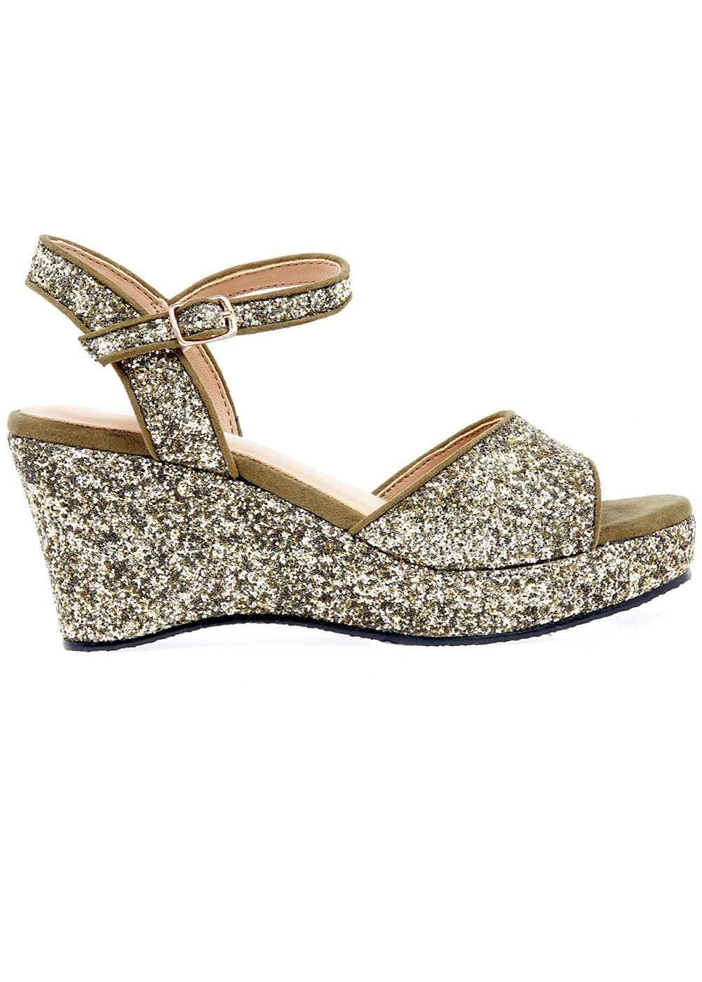 Girls Gold Wedge Party Sandal-Side