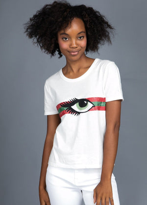 Teenzshop Youth Girls White Eye Graphic T-shirt