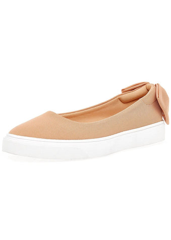 Girls Plimsoll with Bow - Nude - Side