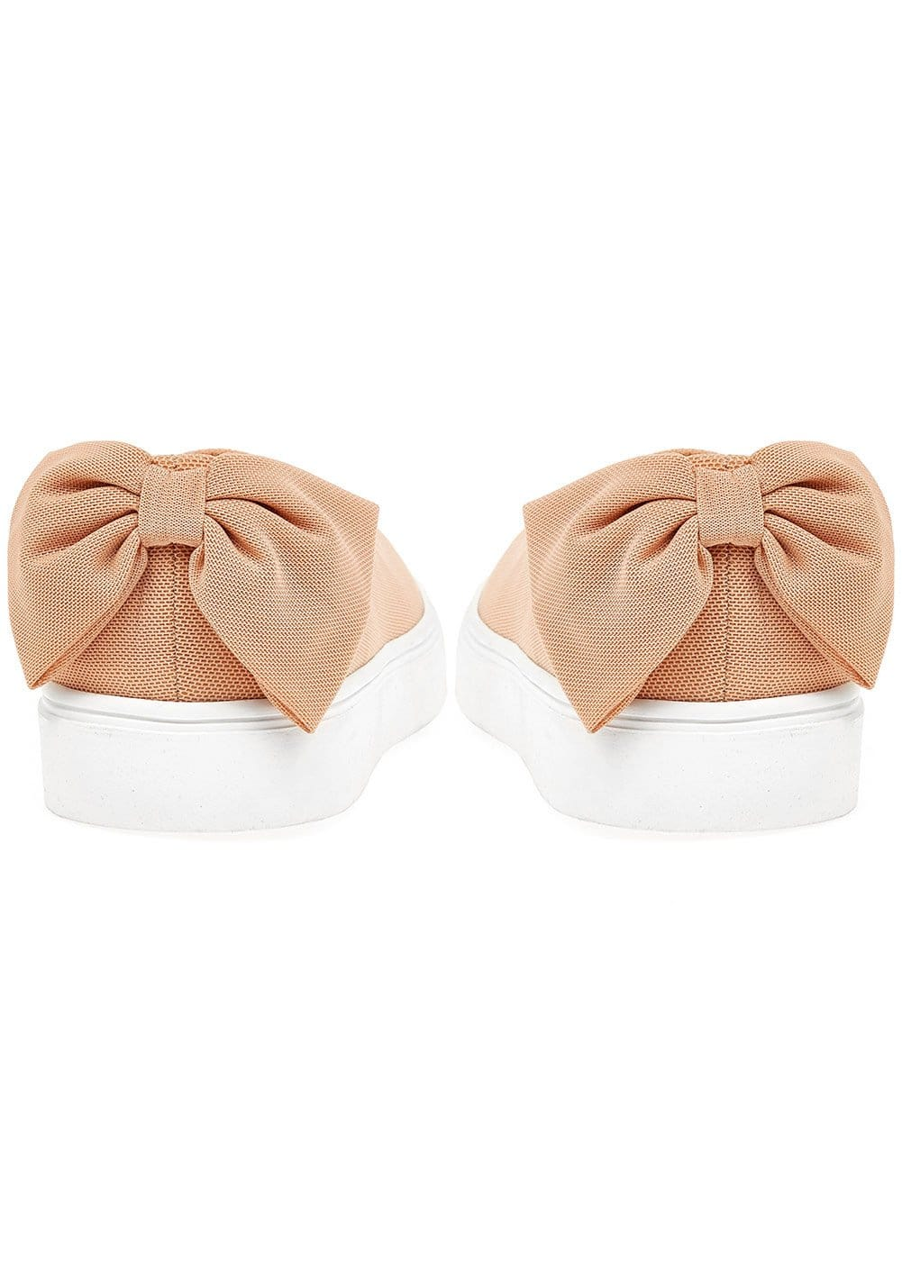 Girls Plimsoll with Bow - Nude - Detail