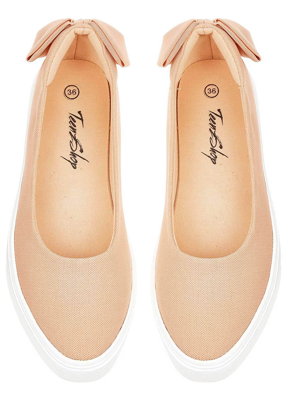 TeenzShop Nude Perfect Plimsole with Bow