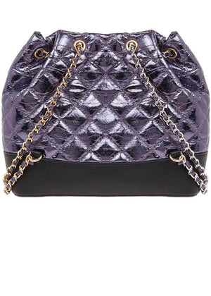 TeenzShop Blue Metallic Quilted Faux Leather Mini Backpack With Chain Straps