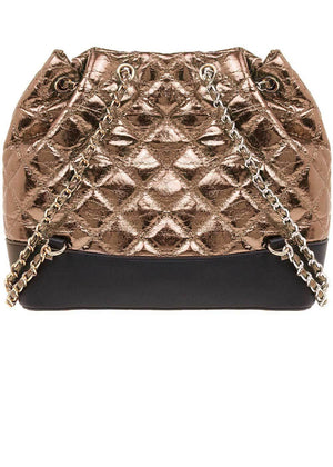 TeenzShop Bronze Quilted Faux Leather Mini Backpack With Chain Straps