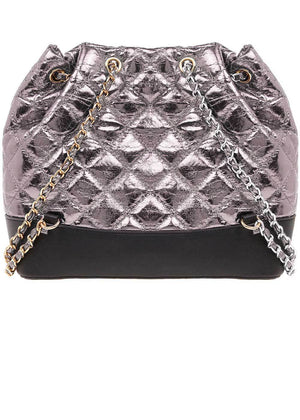 TeenzShop Gunmetal Quilted Faux Leather Mini Backpack With Chain Straps