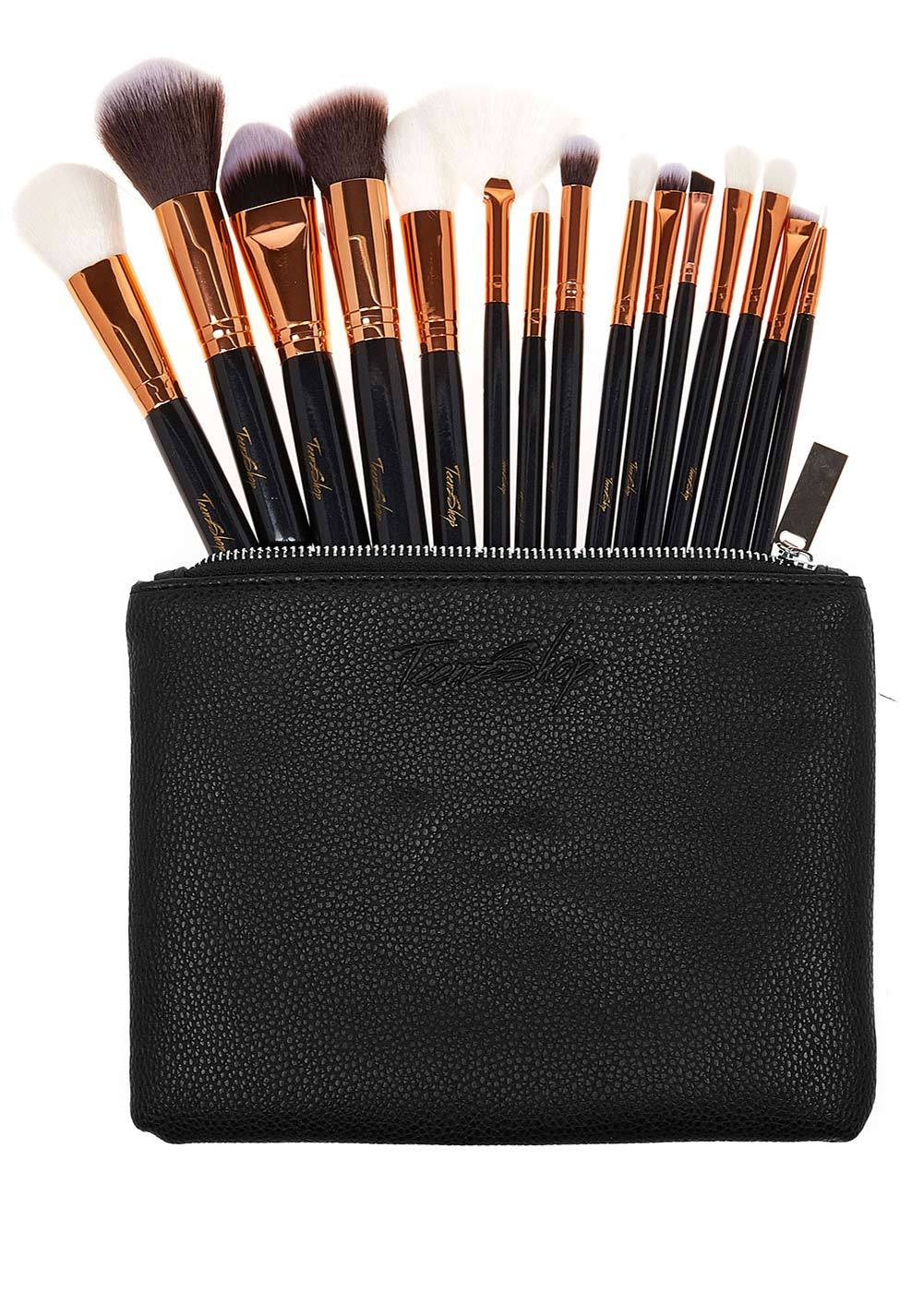 Black Make-up Brush Set and Bag - 1