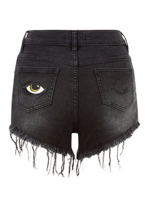 TeenzShop Youth Girls Black Stretch Denim Shorts With Embroidered Eyes